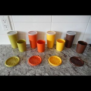 Vintage Tupperware Cup and Coaster Set